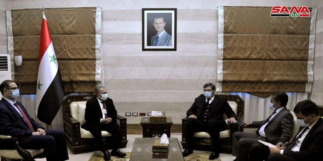 المهندس عرنوس يبحث مع السفير الأبخازي تطوير علاقات التعاون بين البلدين