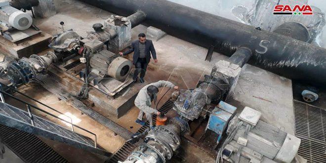 بدء ضخ المياه من محطة علوك بعد 6 أيام من الانقطاع جراء تعديات الاحتلال التركي ومرتزقته على خط التوتر المغذي للمحطة
