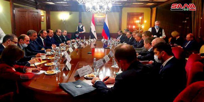 مباحثات سورية روسية لتطوير التعاون الاقتصادي والمالي ورفع حجم التبادل التجاري بين البلدين