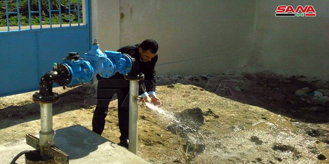 وضع بئر جديدة لمياه الشرب بالخدمة في قطاع وحدة مياه الخشنية بريف القنيطرة
