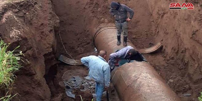 بدء صيانة خط الجر الثاني لمياه الشرب المغذي لأحياء مدينة اللاذقية