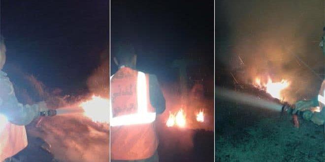 إخماد حريق طال أشجاراً مثمرة في ريف حمص الغربي