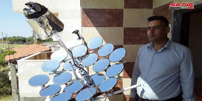 مخترع سوري يبتكر جهازاً لتكثيف أشعة الشمس وإنتاج بخار الماء