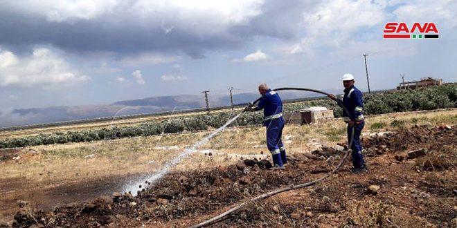 إخماد 12 حريقاً في حقول القمح بمنطقة الغاب في حماة