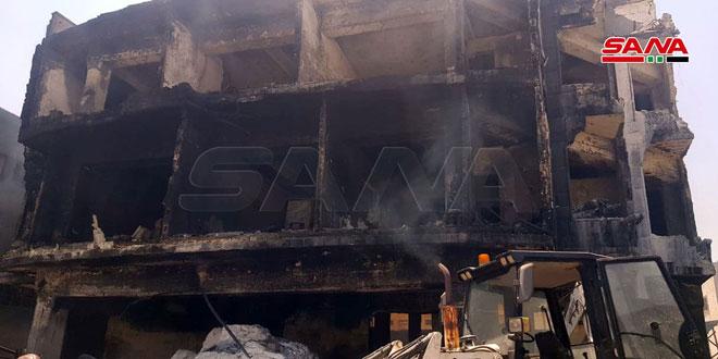 خمس وفيات في حريق معمل للدهان في المدينة الصناعية بحلب