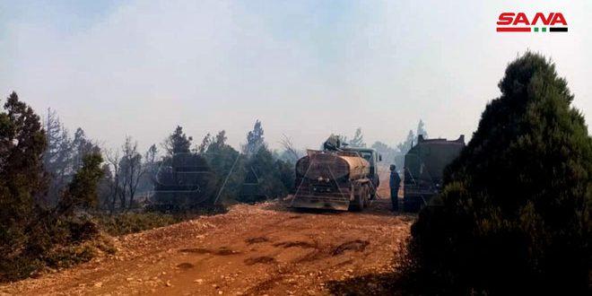 فرق إطفاء حمص تواصل جهودها لإخماد الحريق الممتد من الأراضي اللبنانية باتجاه أطراف قرية أكوم بريف حمص
