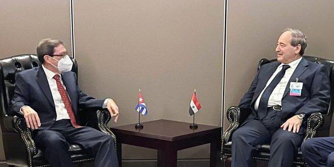 المقداد يبحث في نيويورك مع وزيري خارجية كوبا وكازاخستان تعزيز العلاقات بين البلدين
