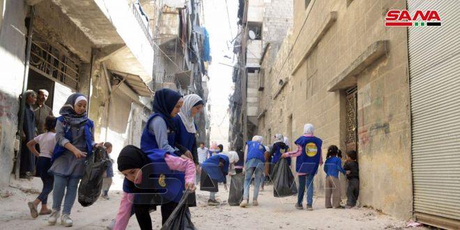 تنفيذ حملة نظافة في حي الفردوس بمدينة حلب
