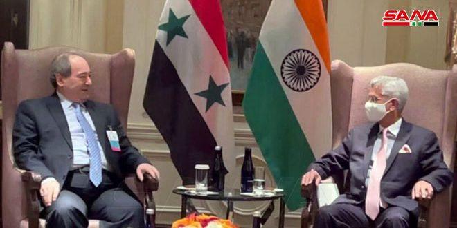 المقداد يلتقي وزير خارجية الهند.. جيشانكار: ملتزمون بدعم سورية في مكافحة الإرهاب