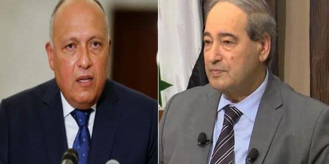 المقداد لـ شكري: أهمية العلاقات بين سورية ومصر في ظل الروابط التاريخية التي تجمعهما