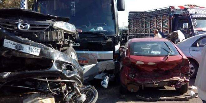 إصابة 15 شخصاً جراء حادث على أوتستراد بانياس طرطوس