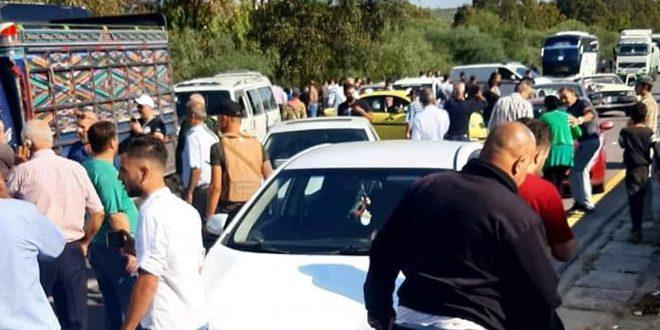إصابة 15 شخصاً جراء حادث سير على أوتستراد بانياس طرطوس