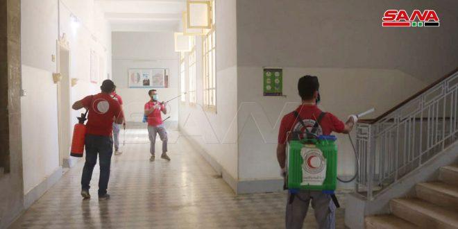حملة تعقيم للمباني الحكومية والمرافق العامة بدير الزور
