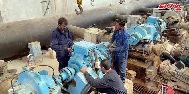صيانة  للشبكة المائية بالحسكة لتحسين ضخ المياه