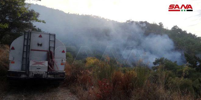 اندلاع حريق في أراض زراعية بريف اللاذقية الشمالي